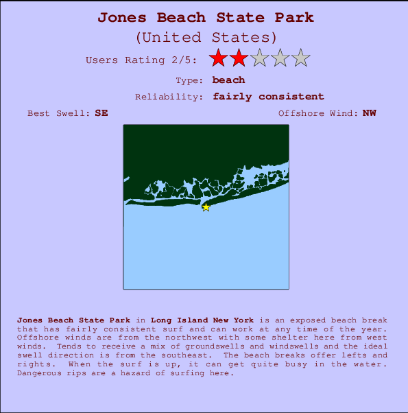 Jones Beach State Park break location map and break info