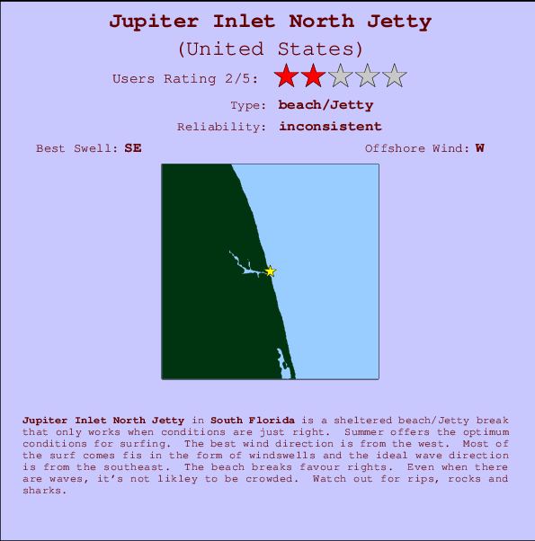 Jupiter Inlet North Jetty break location map and break info
