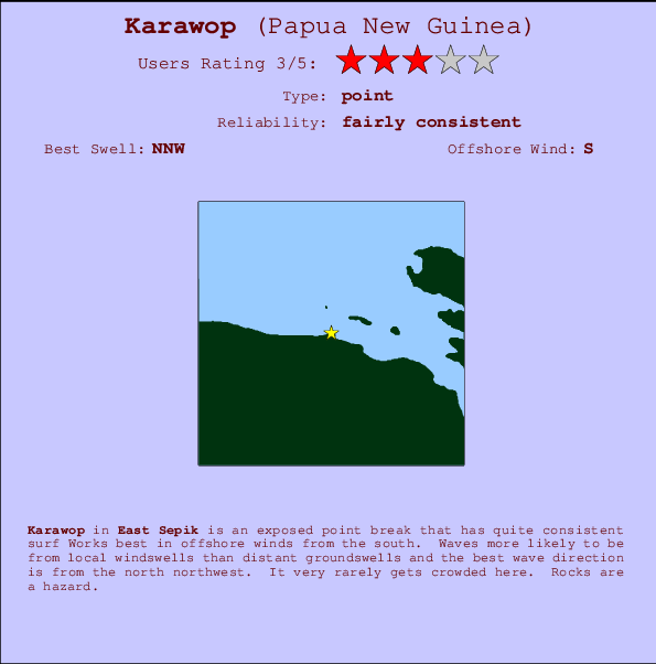 Karawop break location map and break info