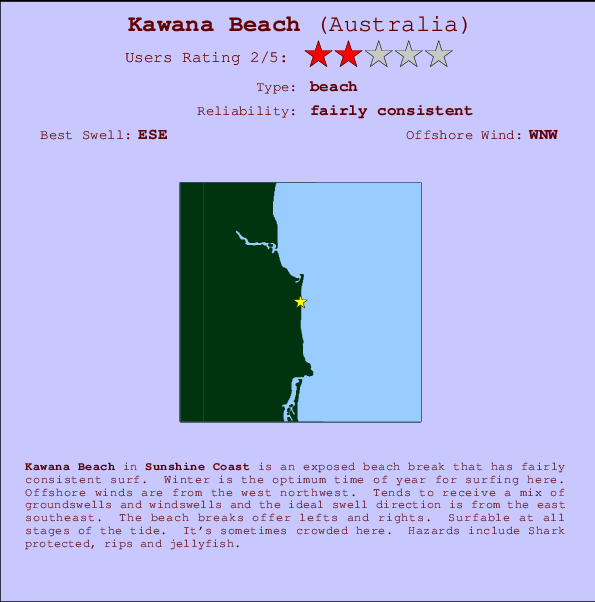 Kawana Beach break location map and break info