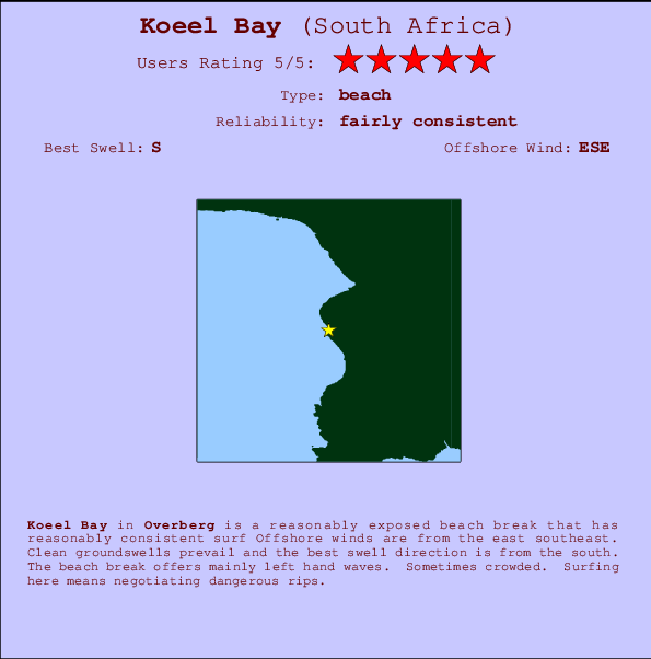 Koeel Bay break location map and break info