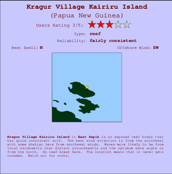 Kragur Village Kairiru Island break location map and break info