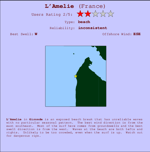 L'Amelie break location map and break info