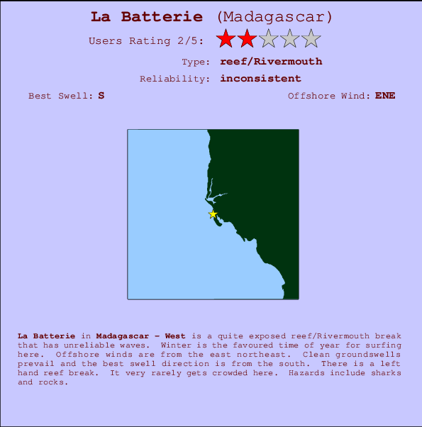 La Batterie break location map and break info