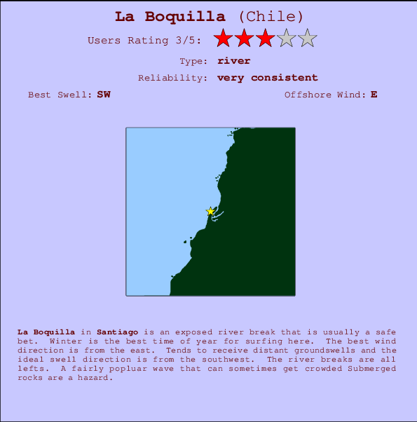 La Boquilla break location map and break info