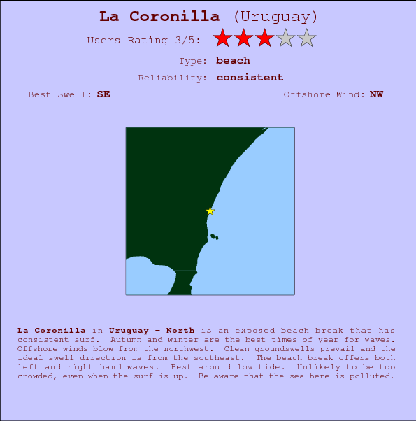 La Coronilla break location map and break info