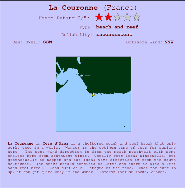 La Couronne break location map and break info