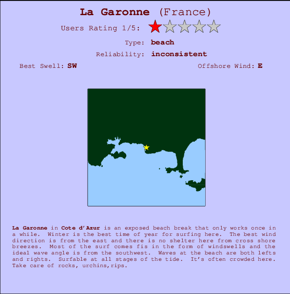 La Garonne break location map and break info