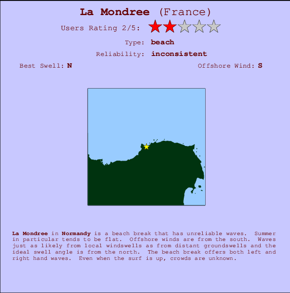 La Mondree break location map and break info