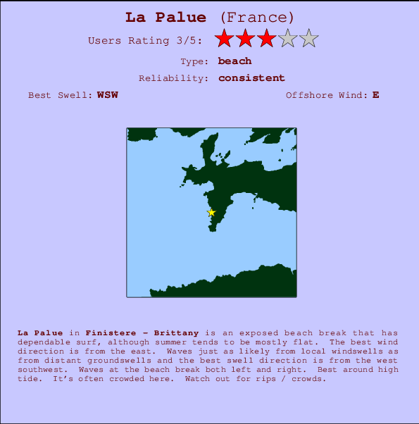 La Palue break location map and break info