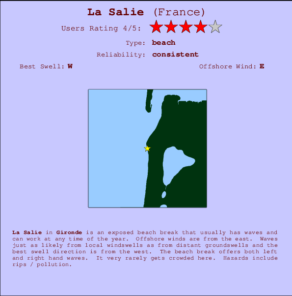 La Salie break location map and break info