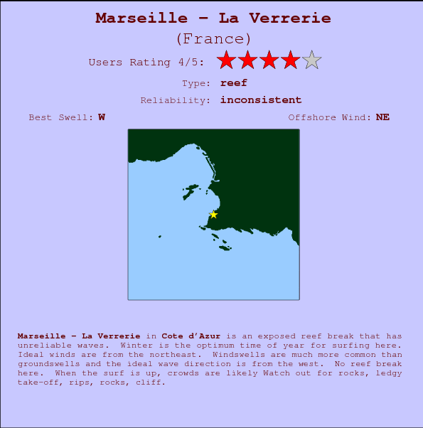 Marseille - La Verrerie break location map and break info