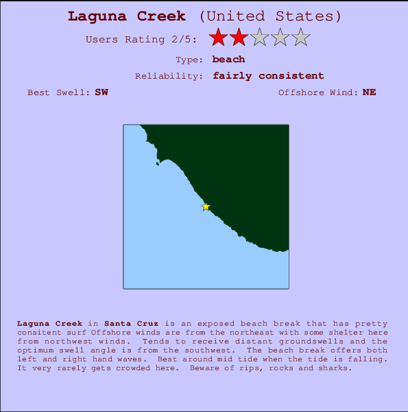Laguna Creek break location map and break info