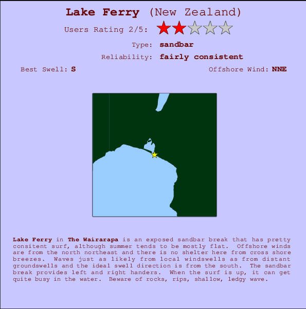 Lake Ferry break location map and break info