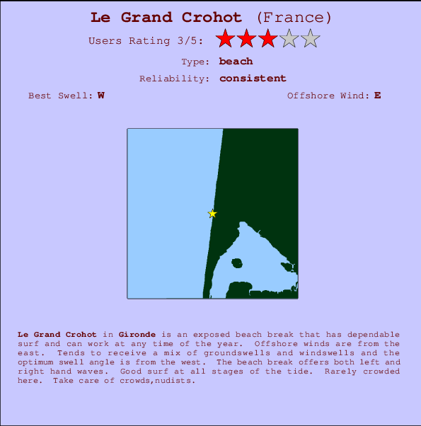 Le Grand Crohot break location map and break info