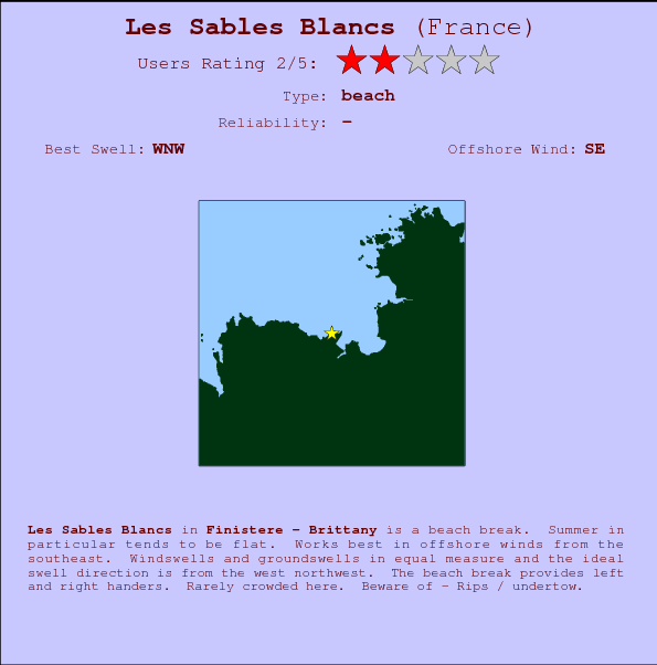 Les Sables Blancs break location map and break info