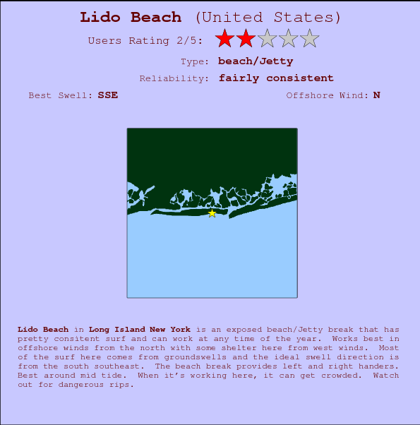 Lido Beach break location map and break info