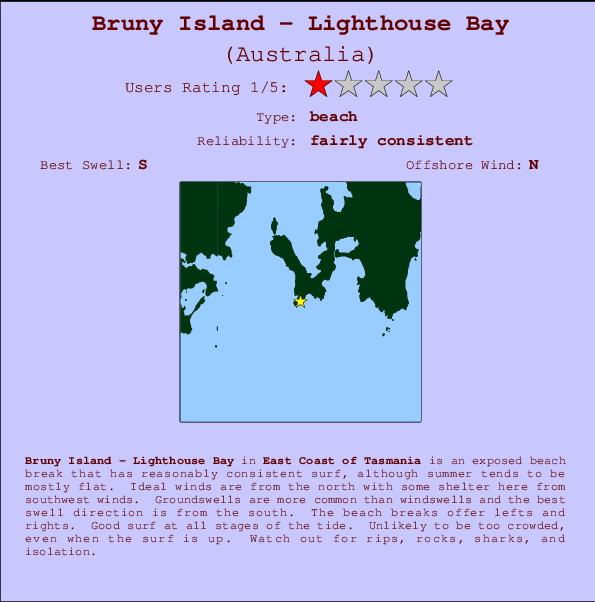 Bruny Island - Lighthouse Bay break location map and break info