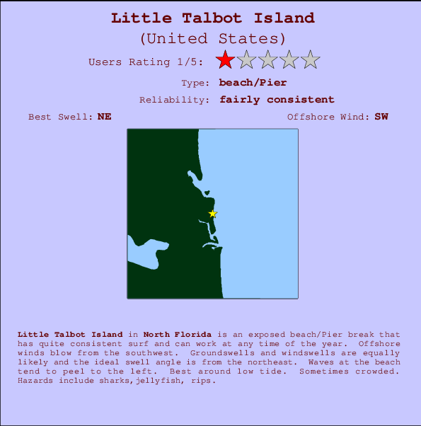 Little Talbot Island break location map and break info