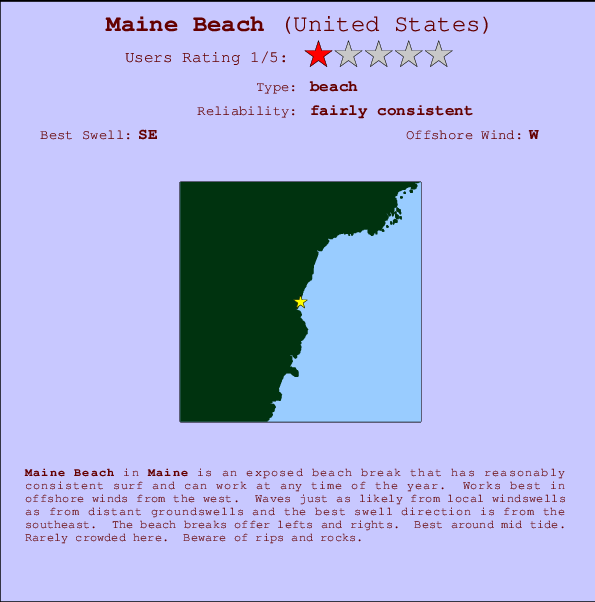 Maine Beach break location map and break info