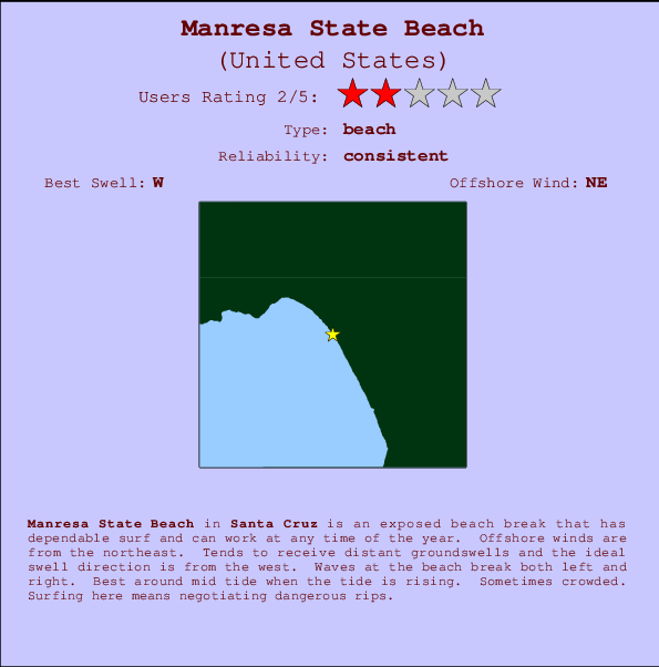 Manresa State Beach break location map and break info