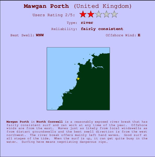 Mawgan Porth break location map and break info