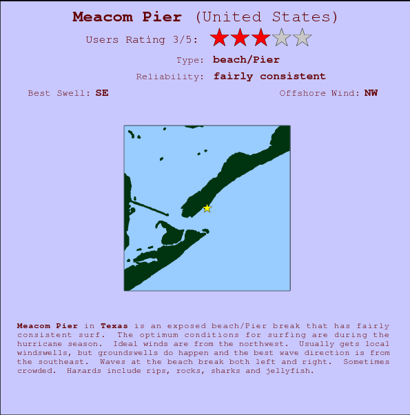 Meacom Pier break location map and break info