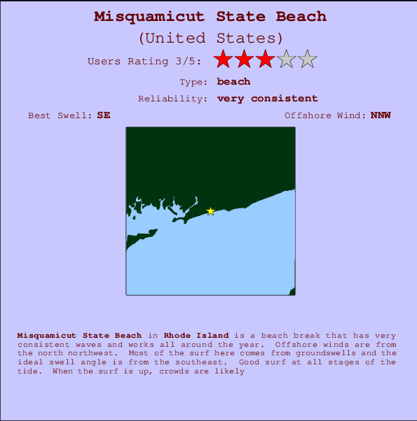 Misquamicut State Beach break location map and break info