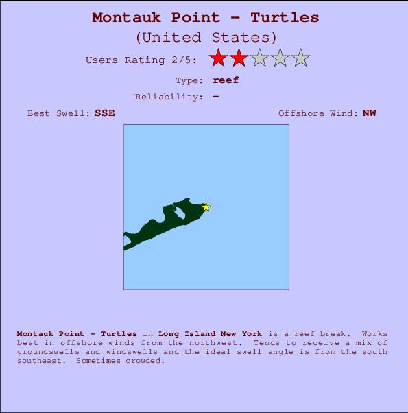 montauk point turtles break location map and break info