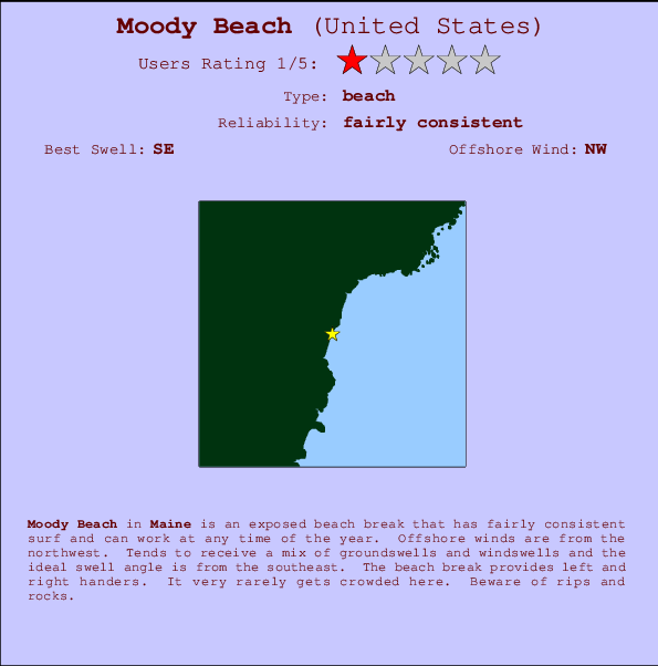 Moody Beach break location map and break info