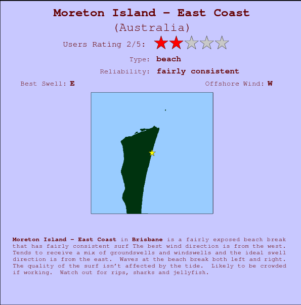 Moreton Island - East Coast break location map and break info