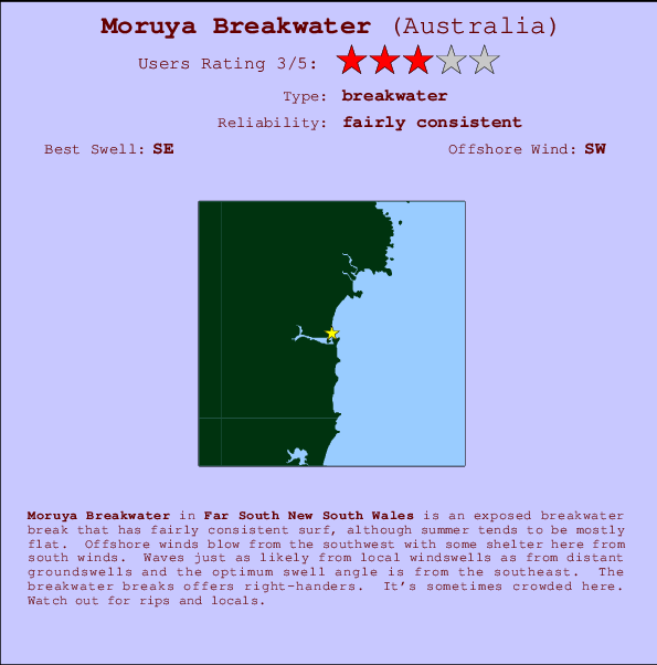 Moruya Breakwater break location map and break info