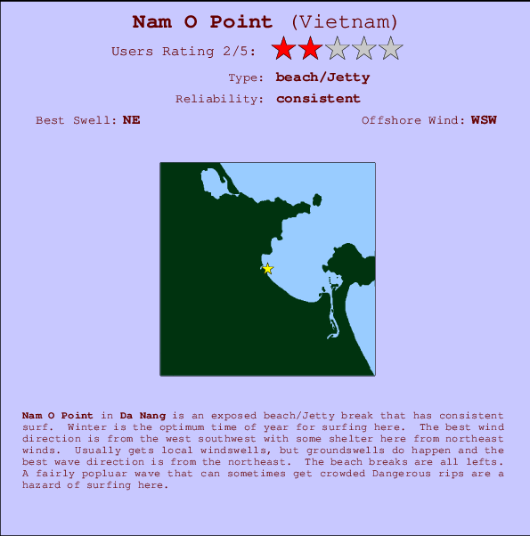 Nam O Point break location map and break info