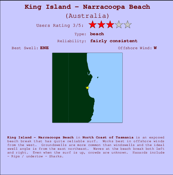 Map Of Australia King Island.King Island Narracoopa Beach Surf Forecast And Surf Reports Tas