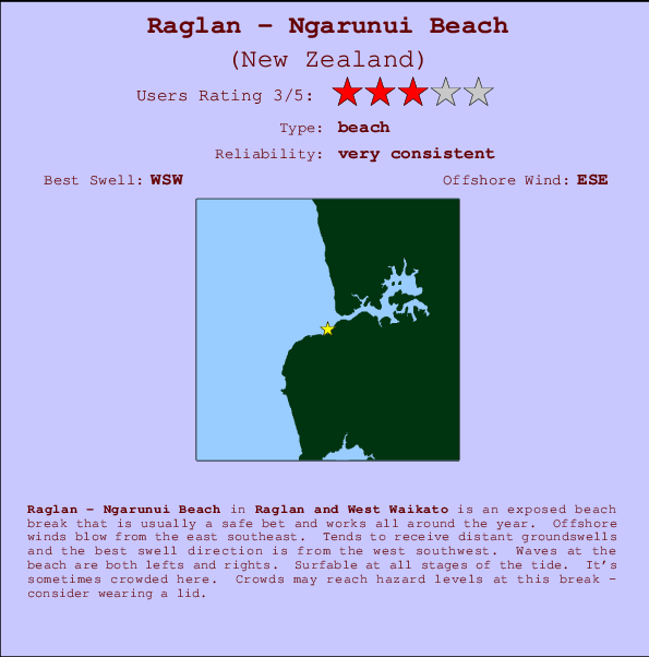 Raglan - Ngarunui Beach break location map and break info