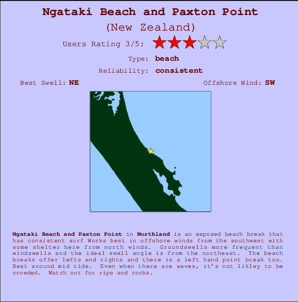 Ngataki Beach and Paxton Point break location map and break info