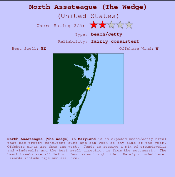 North Assateague (The Wedge) break location map and break info