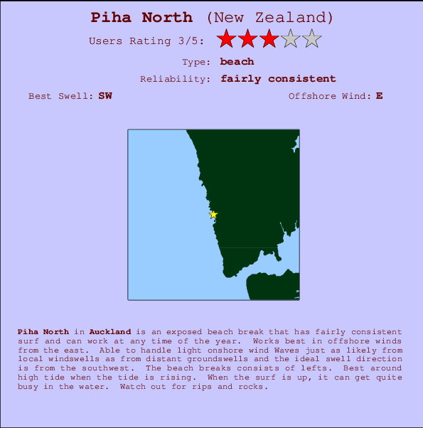 Piha North break location map and break info