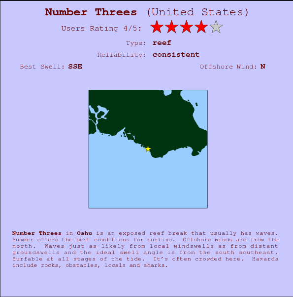 Number Threes Surf Forecast And Surf Reports HAW Oahu USA - Large us map offshore numbers