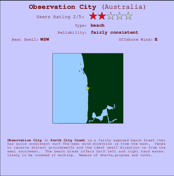 Observation City break location map and break info