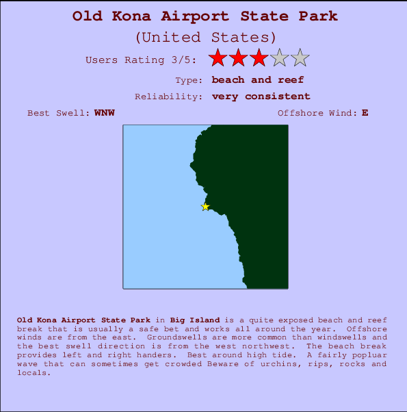 Old Kona Airport State Park Surf Forecast and Surf Reports