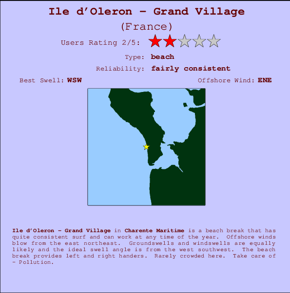 Ile d'Oleron - Grand Village break location map and break info