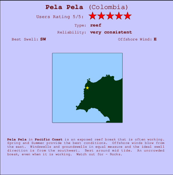 Pela Pela break location map and break info