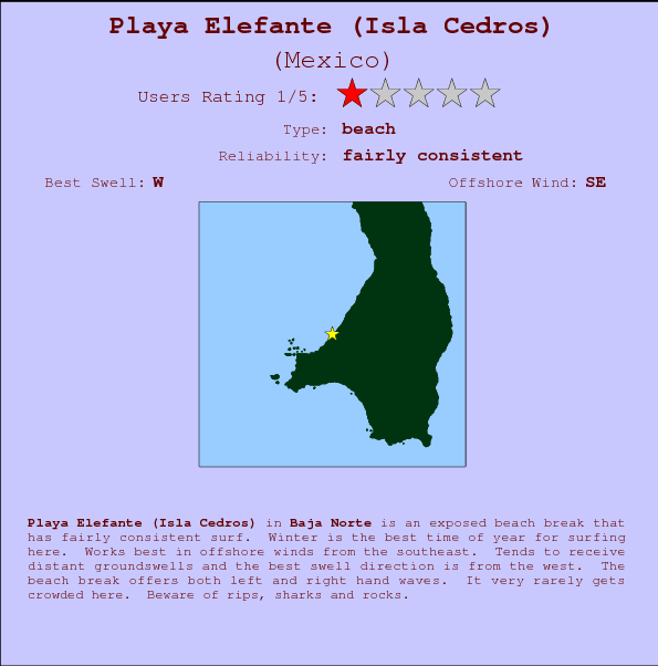 Playa Elefante (Isla Cedros) break location map and break info