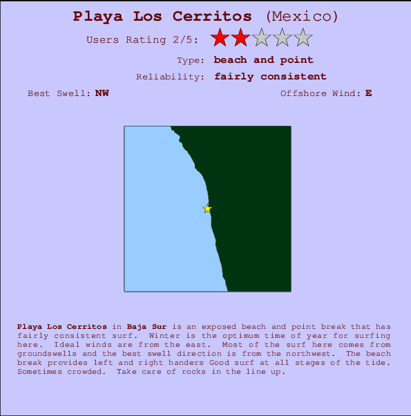 Playa Los Cerritos break location map and break info
