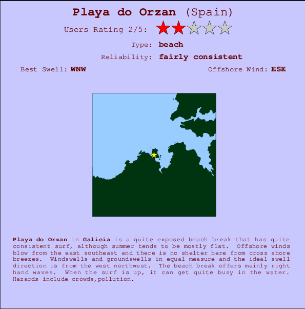 Playa do Orzan break location map and break info