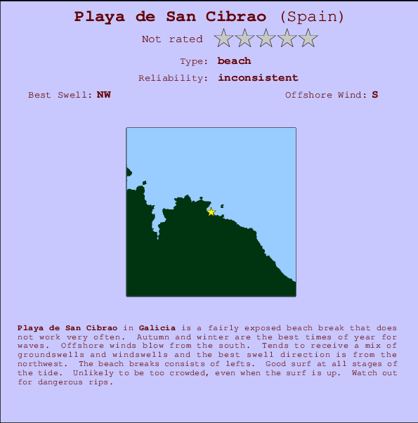 Playa de San Cibrao break location map and break info