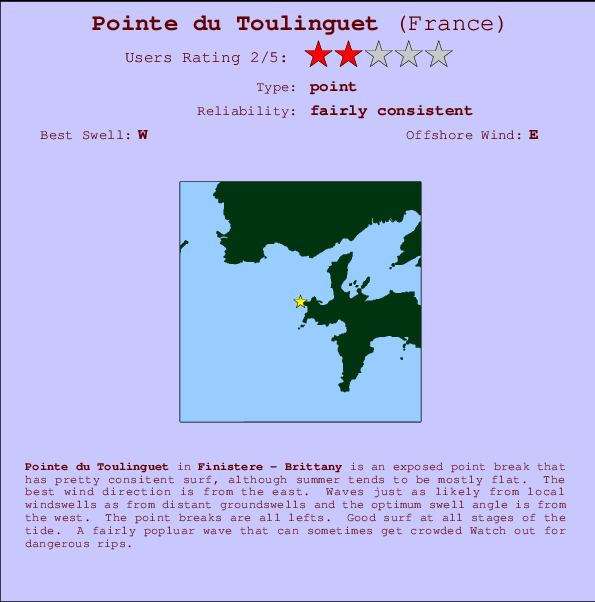 Pointe du Toulinguet break location map and break info
