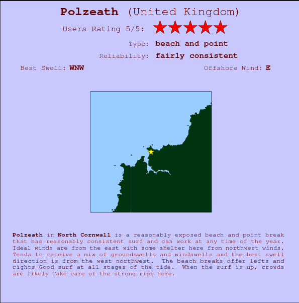 Polzeath break location map and break info