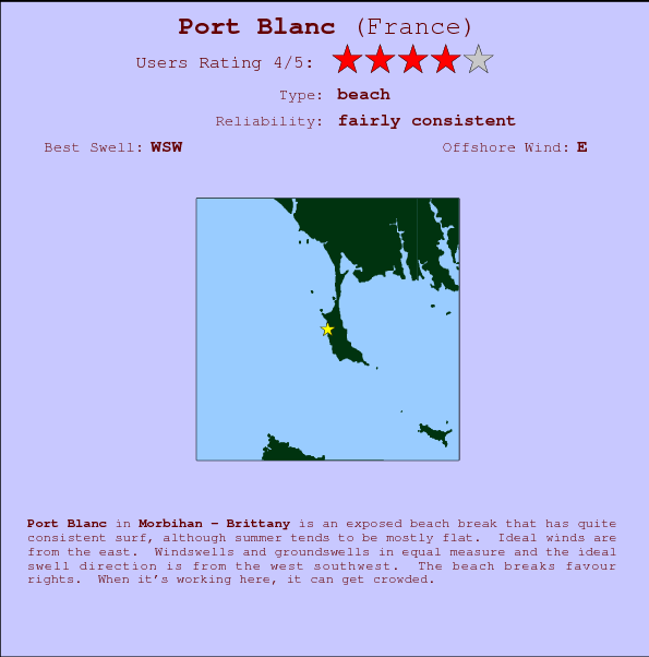 Port Blanc break location map and break info